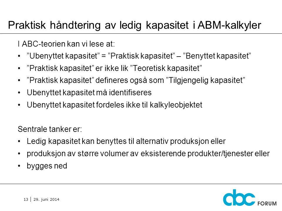 Praktisk håndtering av ledig kapasitet i ABM-kalkyler