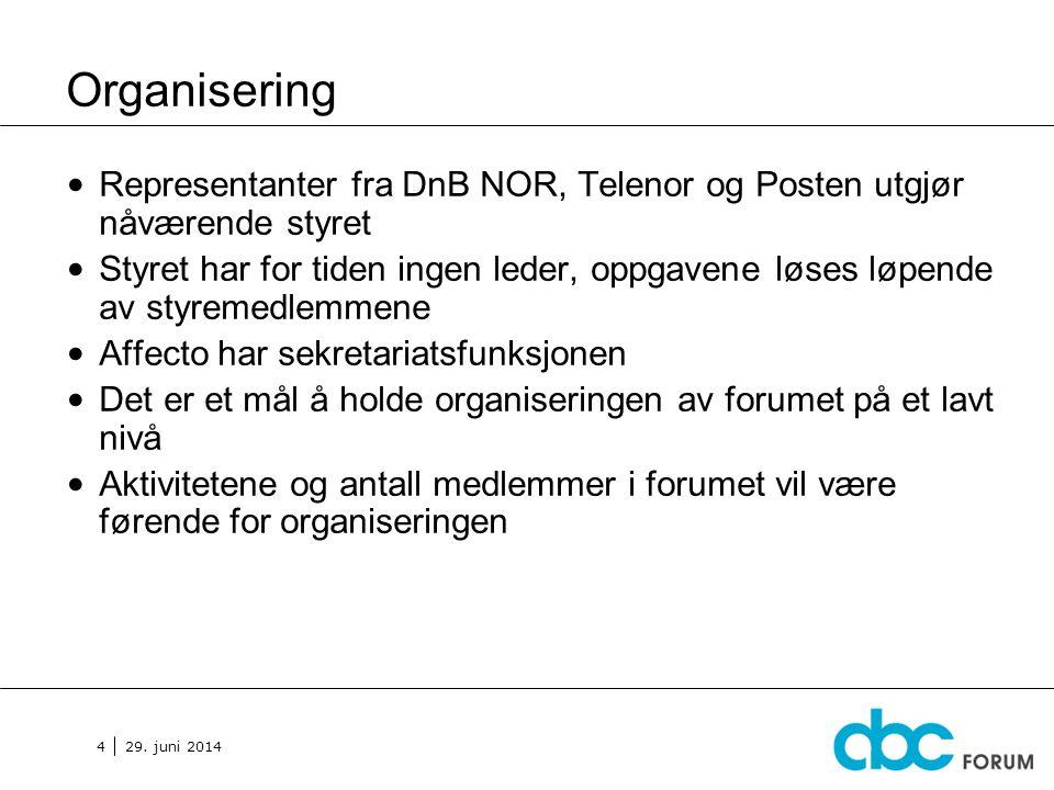 Organisering Representanter fra DnB NOR, Telenor og Posten utgjør nåværende styret.