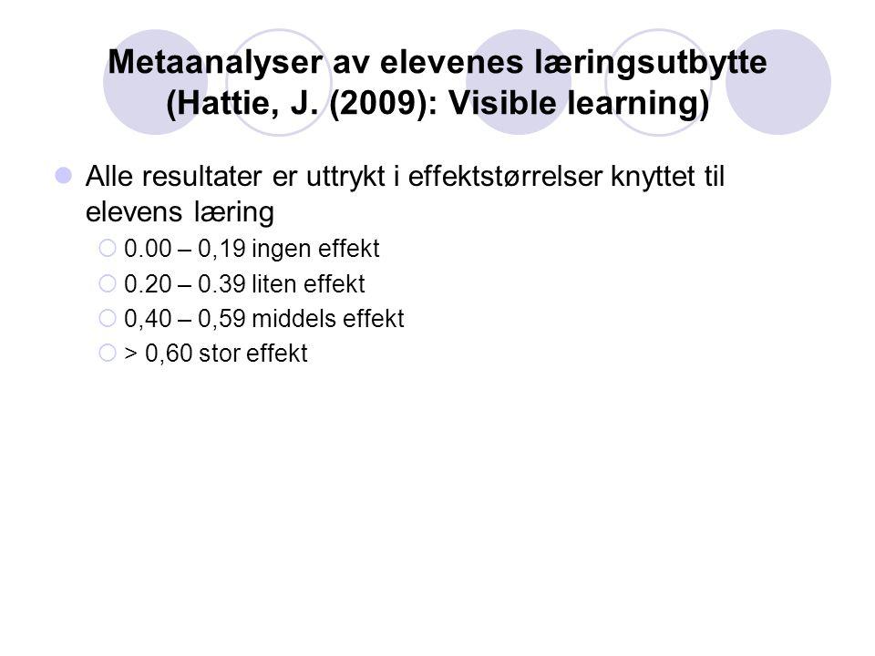 Metaanalyser av elevenes læringsutbytte (Hattie, J