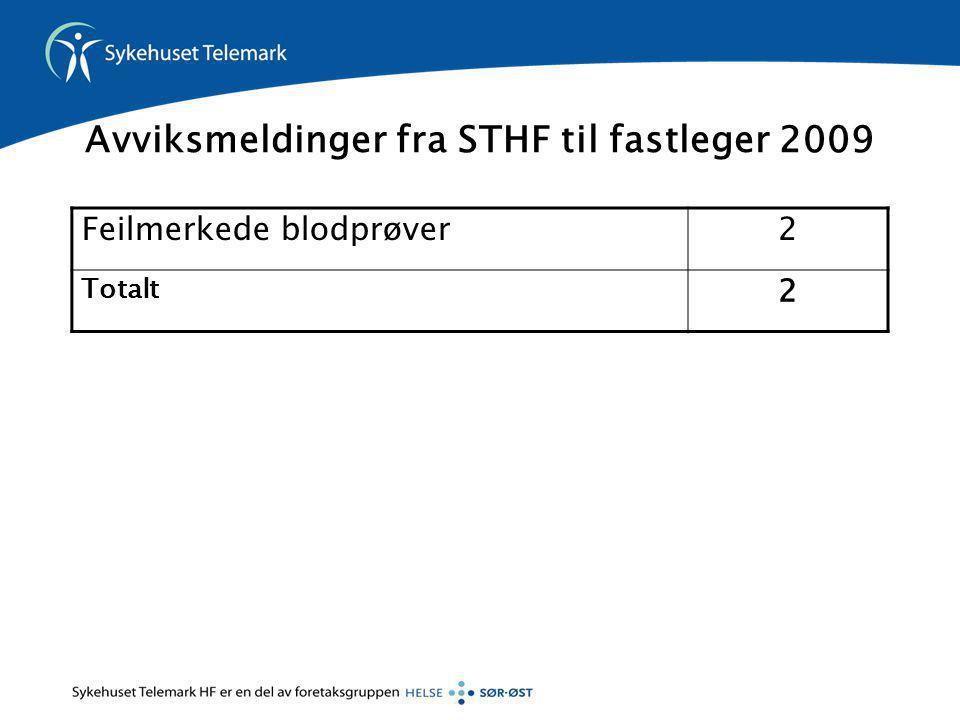 Avviksmeldinger fra STHF til fastleger 2009