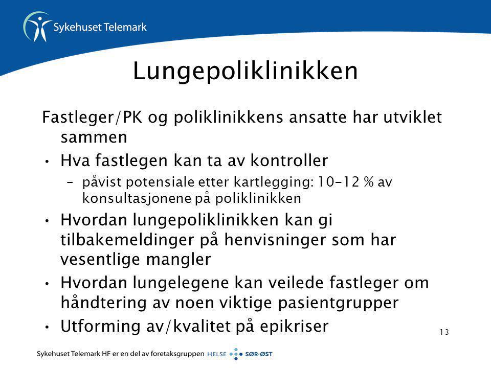 Lungepoliklinikken Fastleger/PK og poliklinikkens ansatte har utviklet sammen. Hva fastlegen kan ta av kontroller.