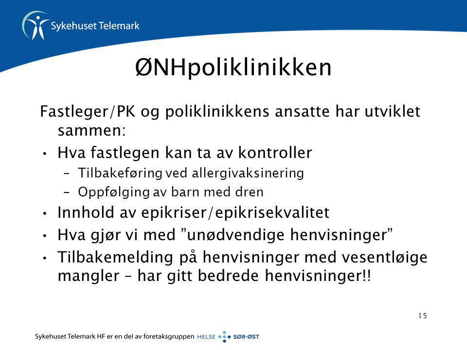ØNHpoliklinikken Fastleger/PK og poliklinikkens ansatte har utviklet sammen: Hva fastlegen kan ta av kontroller.