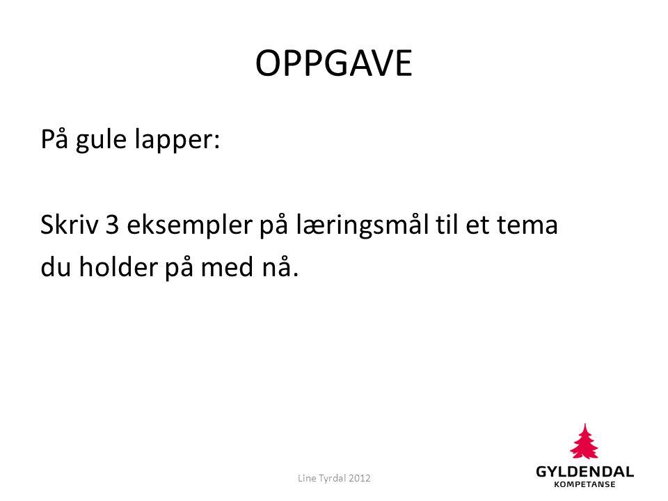 OPPGAVE På gule lapper: Skriv 3 eksempler på læringsmål til et tema du holder på med nå.