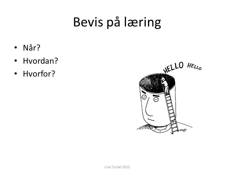 Bevis på læring Når Hvordan Hvorfor Line Tyrdal 2013