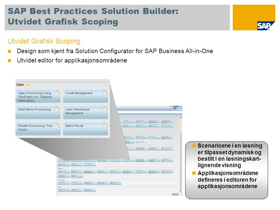 SAP Best Practices Solution Builder: Utvidet Grafisk Scoping
