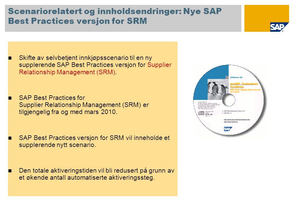 Scenariorelatert og innholdsendringer: Nye SAP Best Practices versjon for SRM