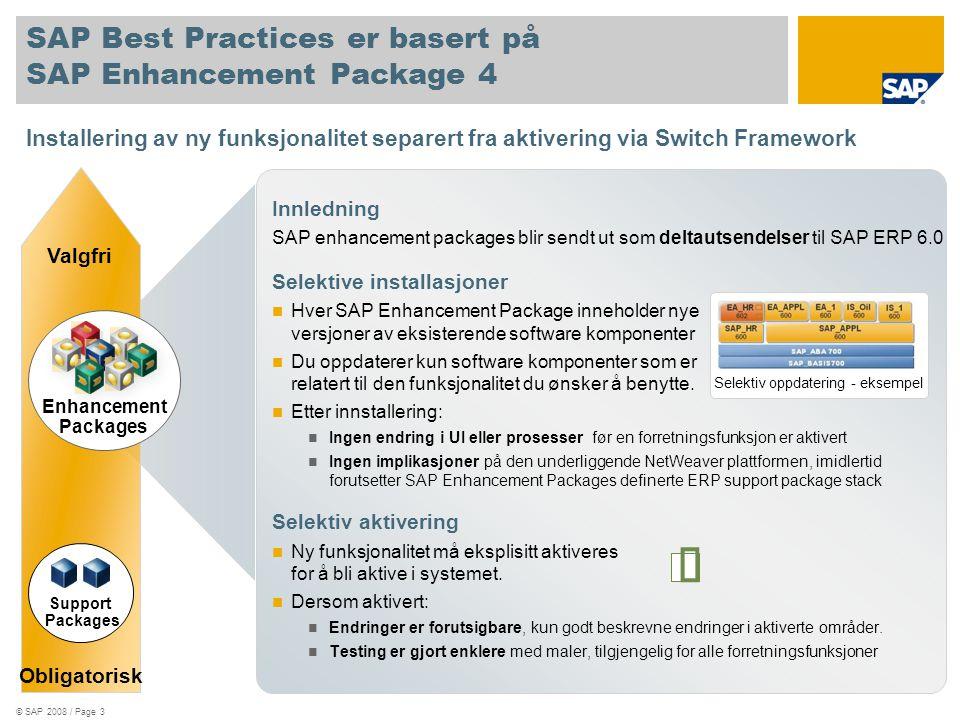 SAP Best Practices er basert på SAP Enhancement Package 4