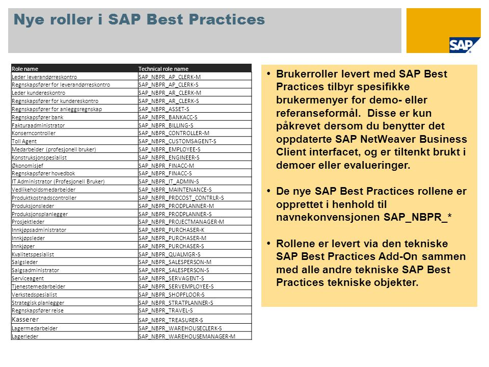 Nye roller i SAP Best Practices