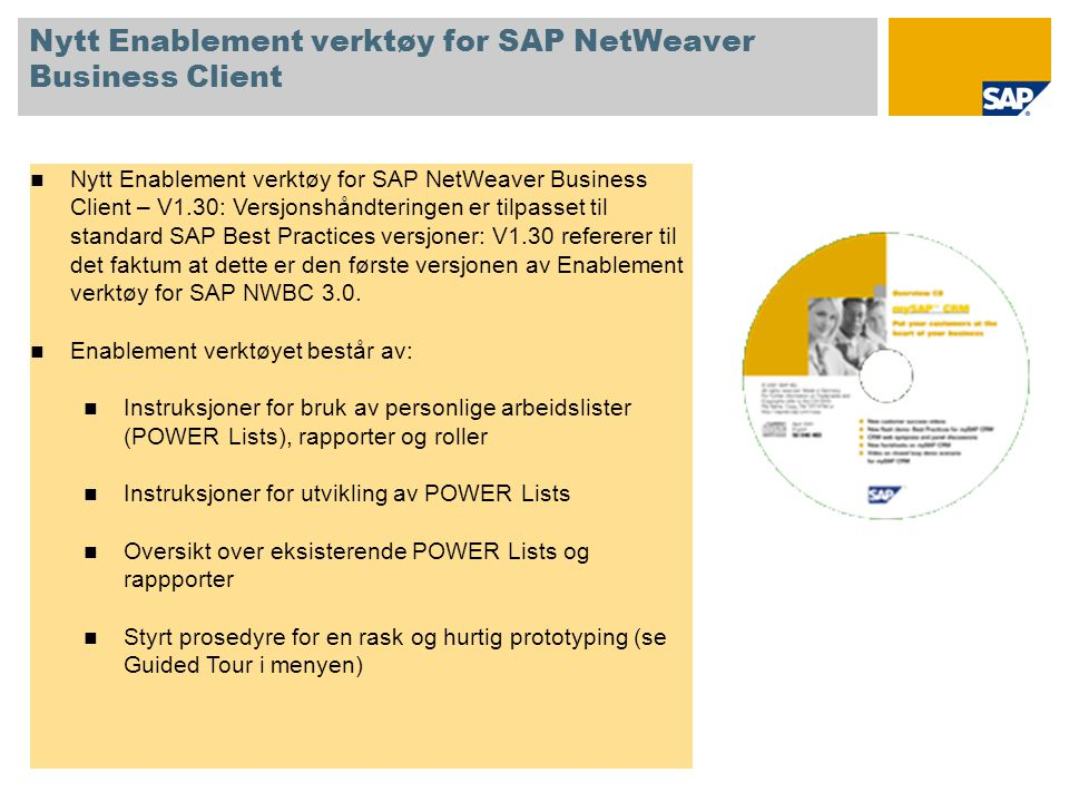 Nytt Enablement verktøy for SAP NetWeaver Business Client