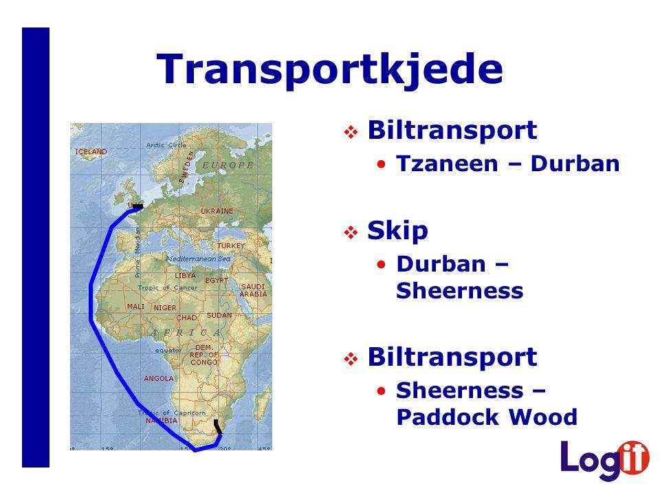 Transportkjede Biltransport Skip Tzaneen – Durban Durban – Sheerness