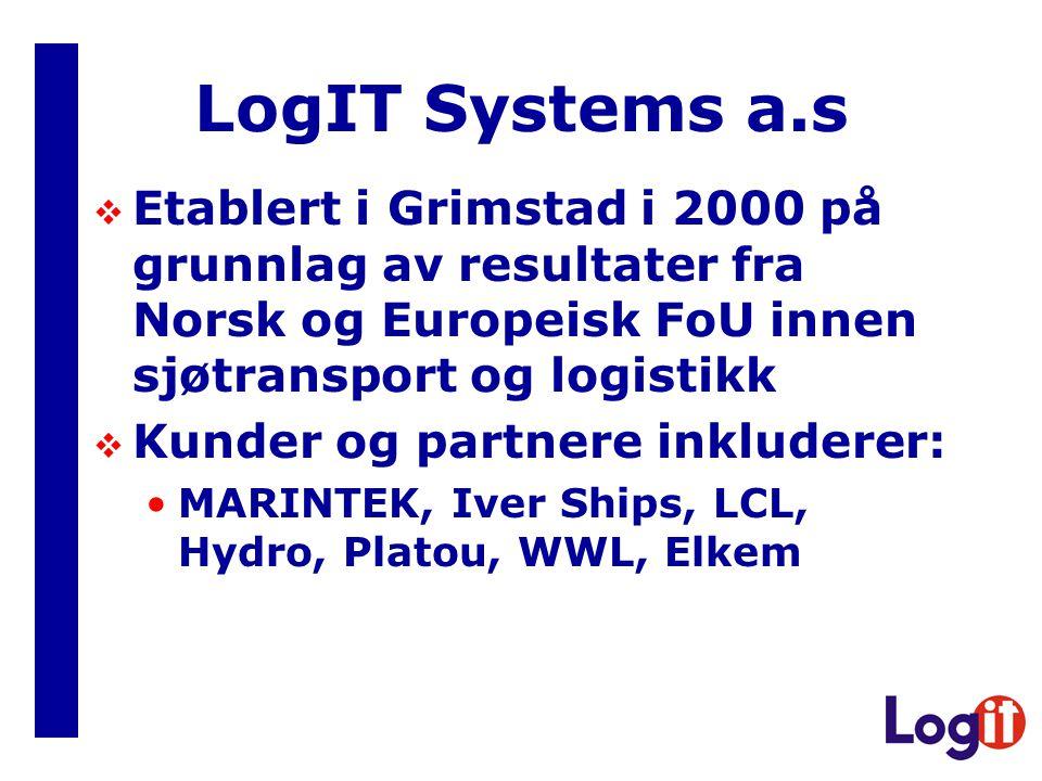 LogIT Systems a.s Etablert i Grimstad i 2000 på grunnlag av resultater fra Norsk og Europeisk FoU innen sjøtransport og logistikk.