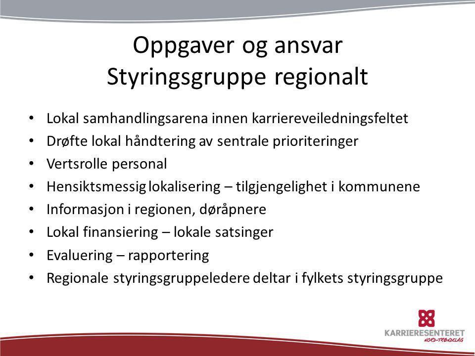Oppgaver og ansvar Styringsgruppe regionalt