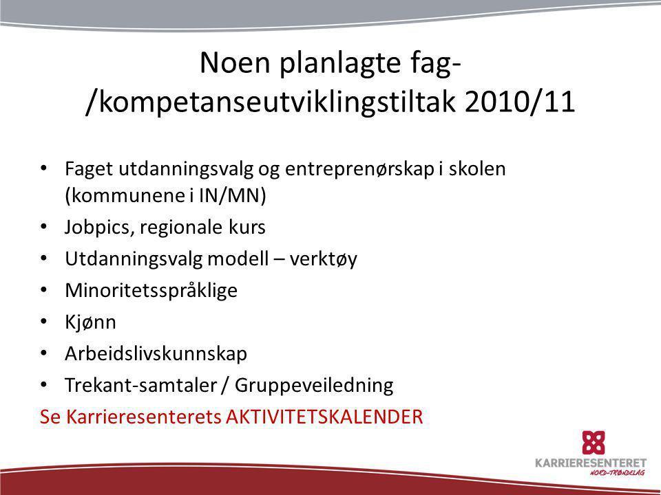 Noen planlagte fag-/kompetanseutviklingstiltak 2010/11