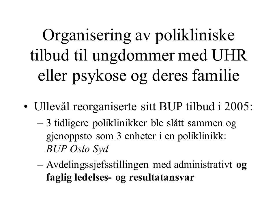 Organisering av polikliniske tilbud til ungdommer med UHR eller psykose og deres familie