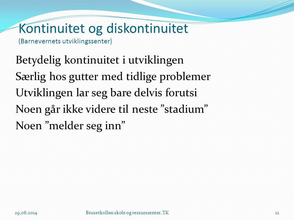 Kontinuitet og diskontinuitet (Barnevernets utviklingssenter)