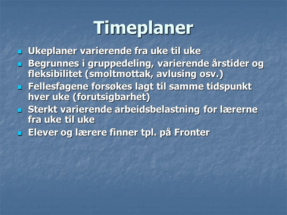 Timeplaner Ukeplaner varierende fra uke til uke