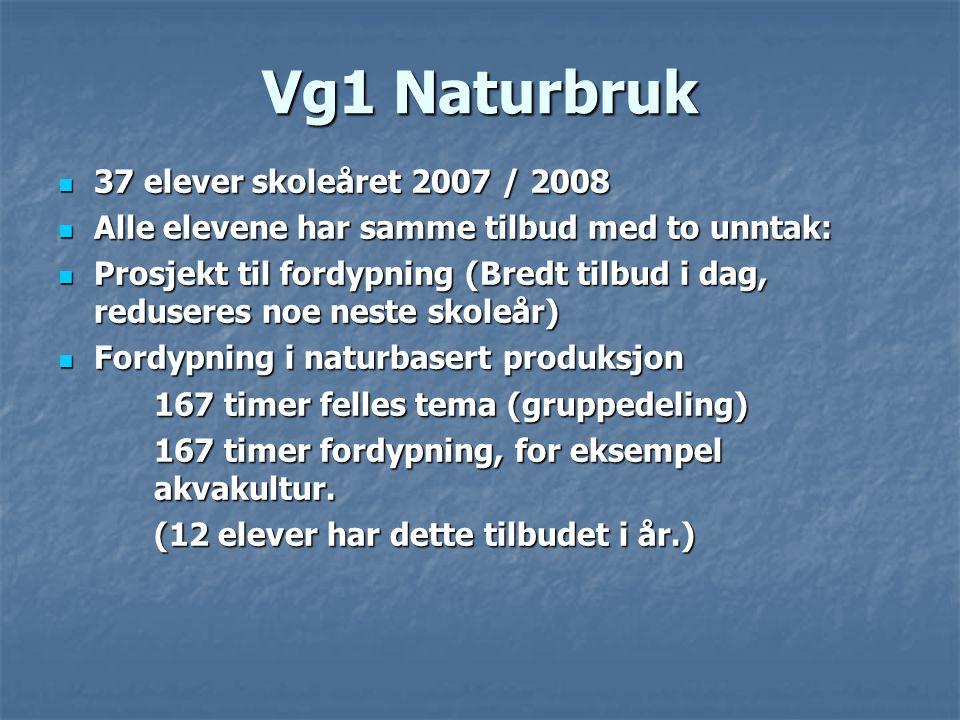 Vg1 Naturbruk 37 elever skoleåret 2007 / 2008