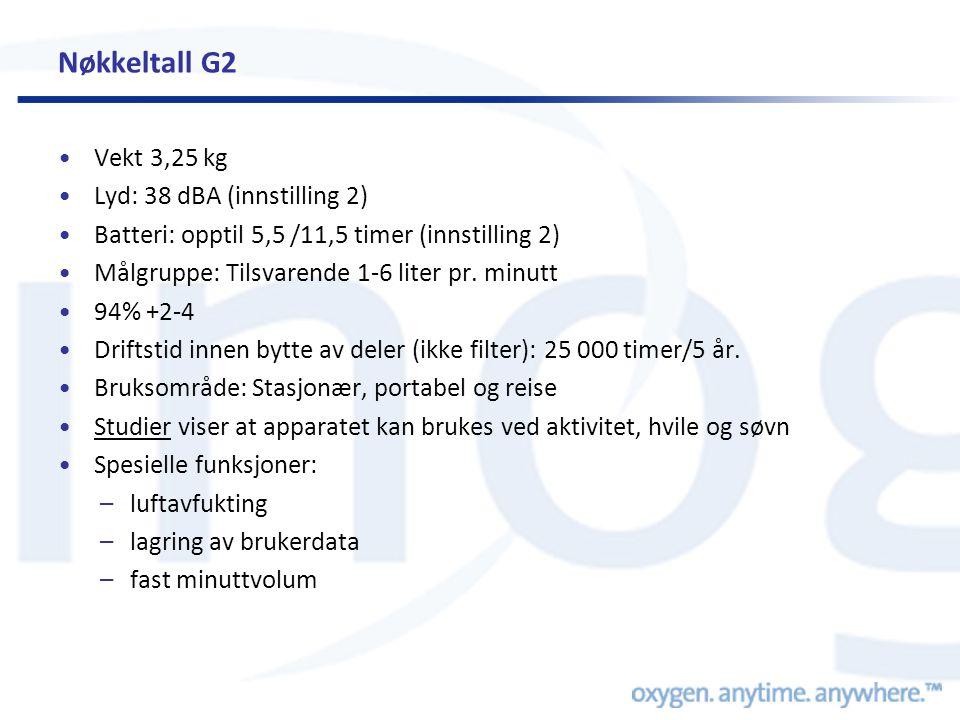 Nøkkeltall G2 Vekt 3,25 kg Lyd: 38 dBA (innstilling 2)