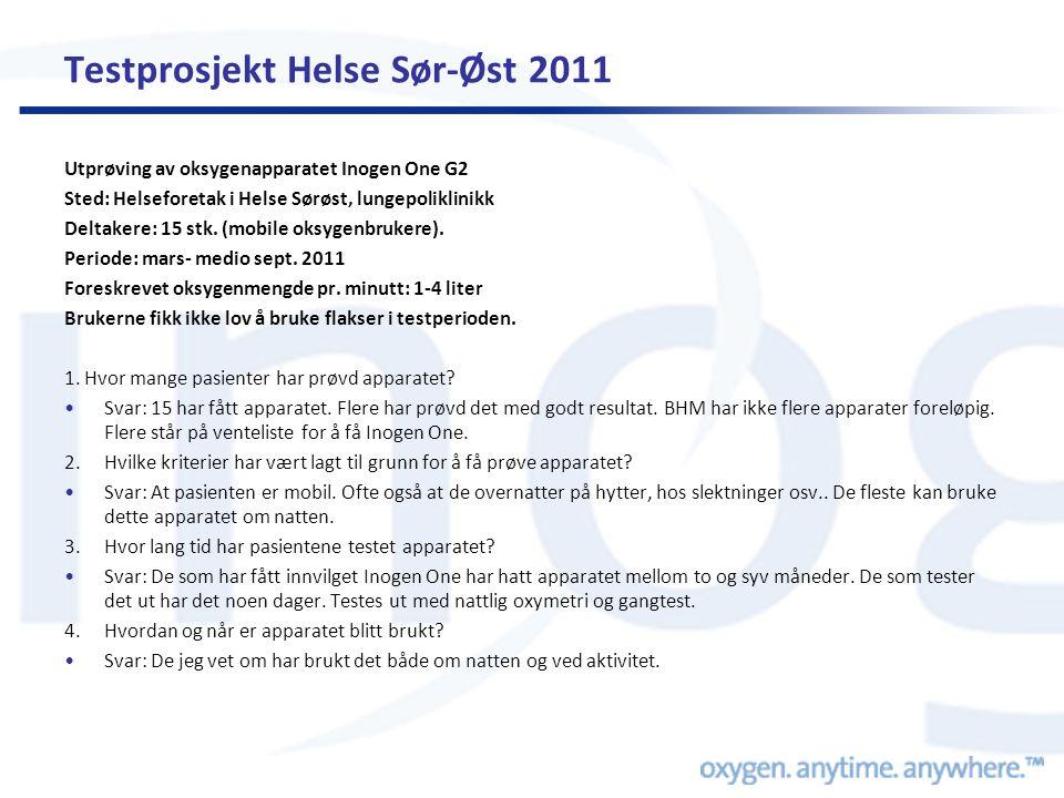 Testprosjekt Helse Sør-Øst 2011