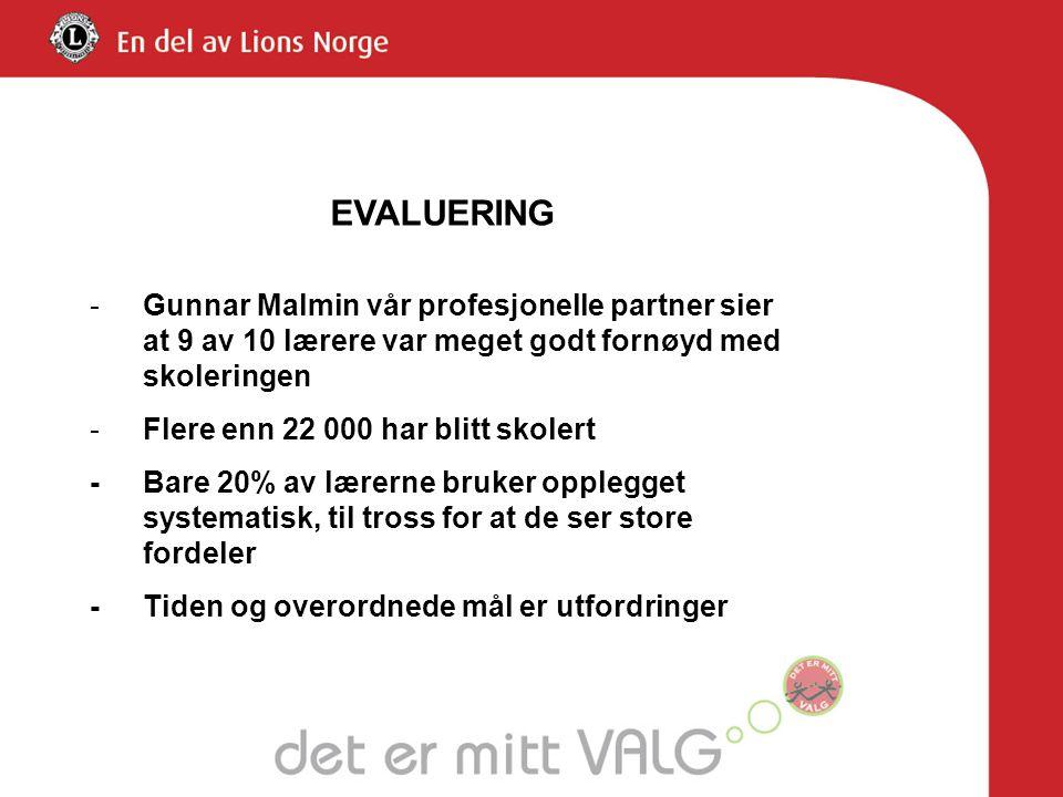 EVALUERING Gunnar Malmin vår profesjonelle partner sier at 9 av 10 lærere var meget godt fornøyd med skoleringen.