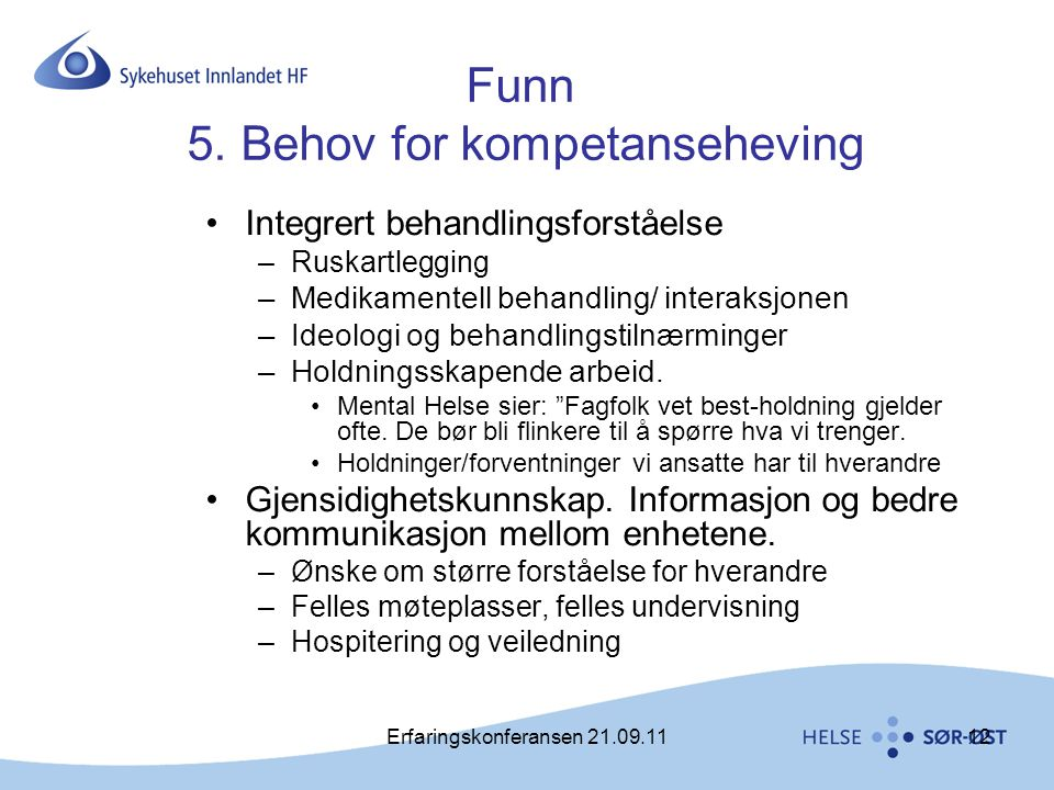 Funn 5. Behov for kompetanseheving