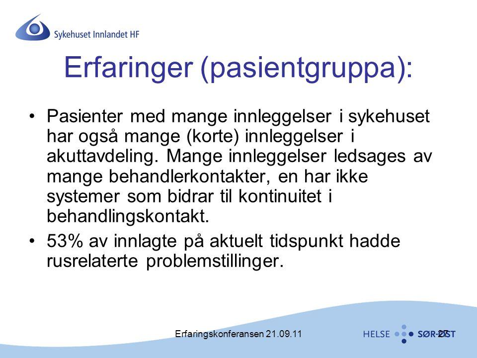 Erfaringer (pasientgruppa):