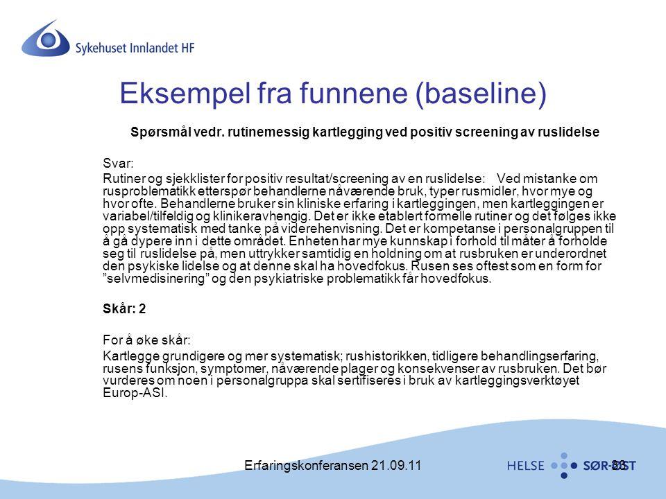 Eksempel fra funnene (baseline)