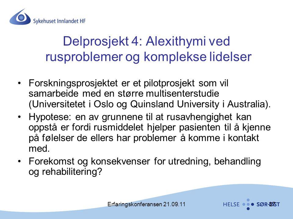 Delprosjekt 4: Alexithymi ved rusproblemer og komplekse lidelser
