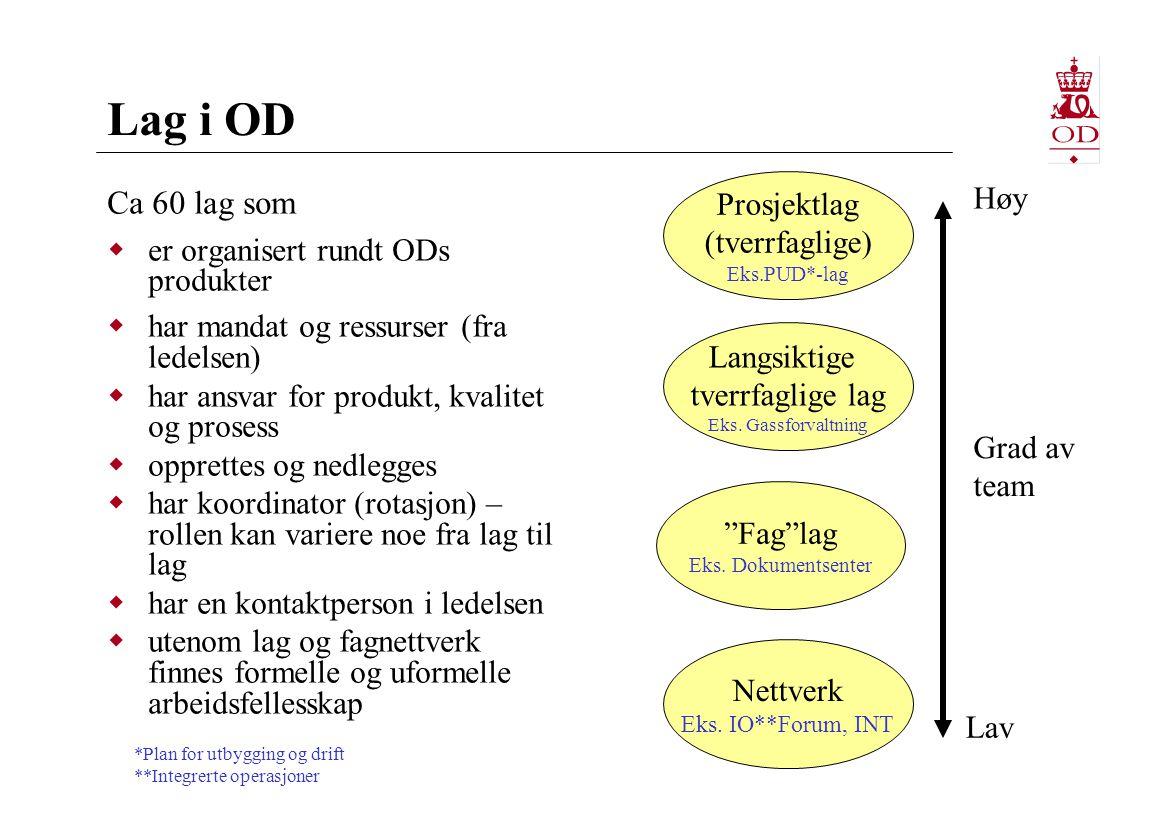 Lag i OD Ca 60 lag som Prosjektlag Høy (tverrfaglige)