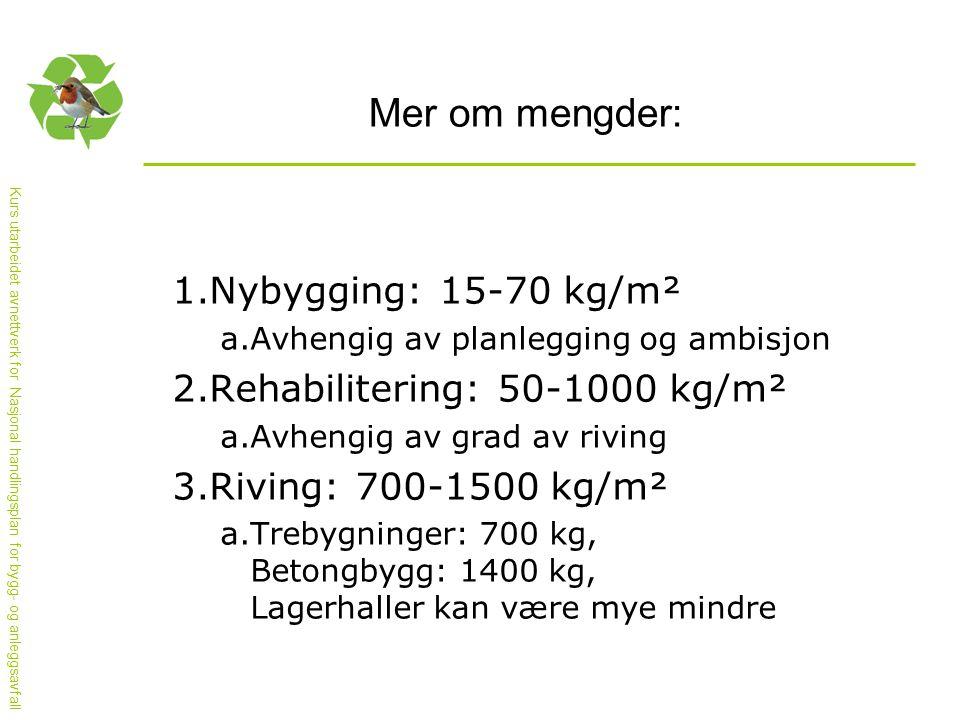 Mer om mengder: Nybygging: 15-70 kg/m² Rehabilitering: 50-1000 kg/m²