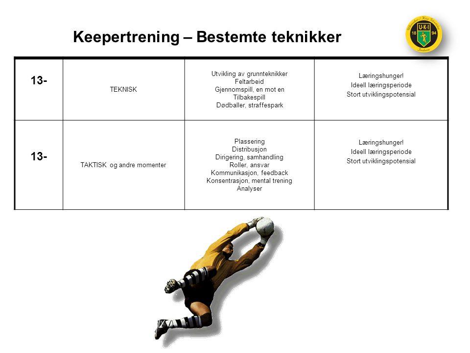 Keepertrening – Bestemte teknikker