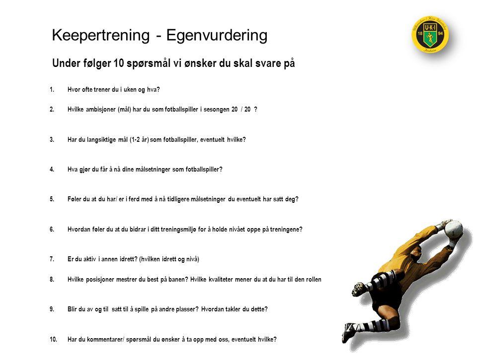 Keepertrening - Egenvurdering