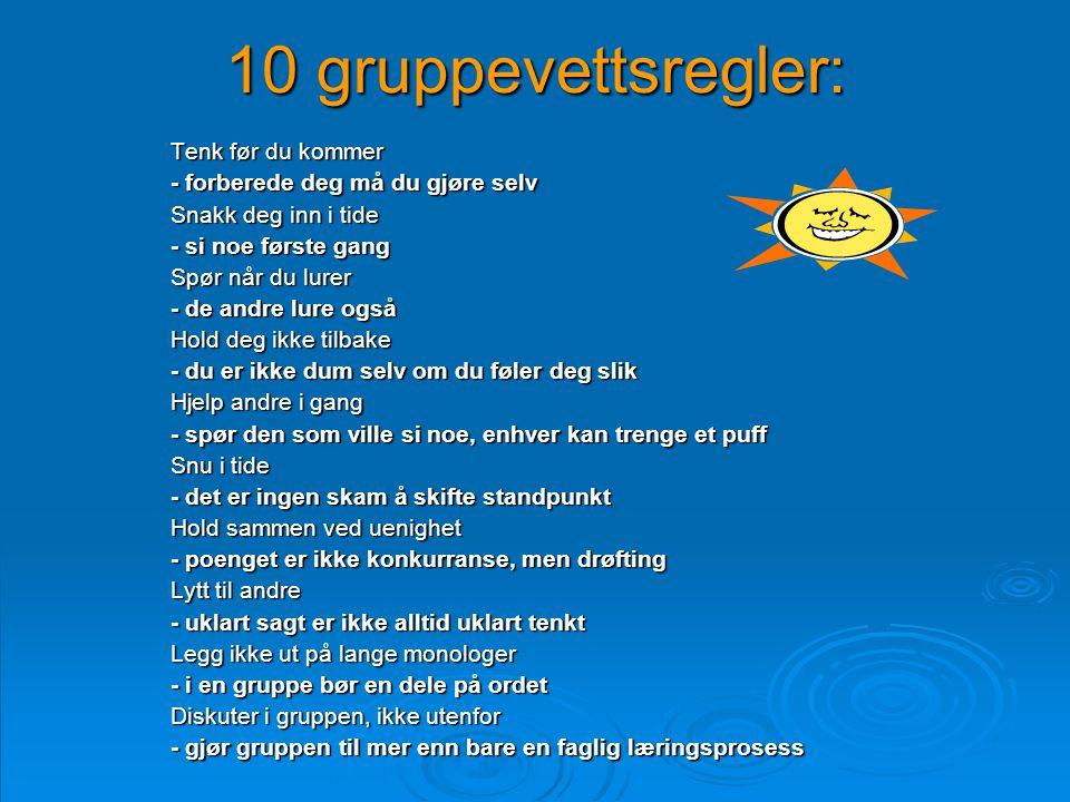 10 gruppevettsregler: Tenk før du kommer