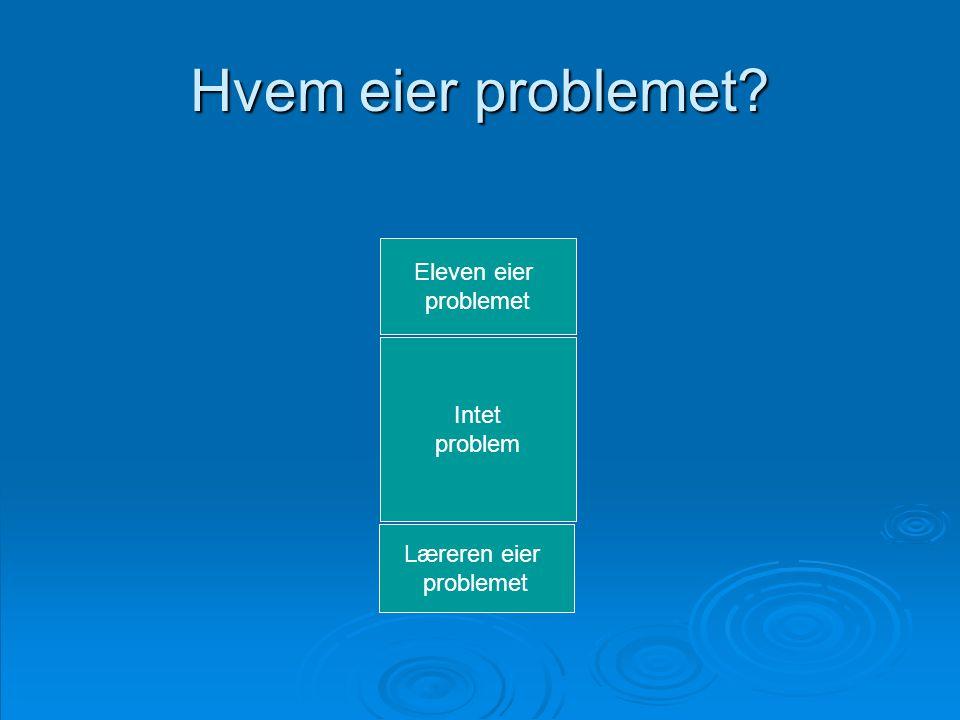 Hvem eier problemet Eleven eier problemet Intet problem Læreren eier