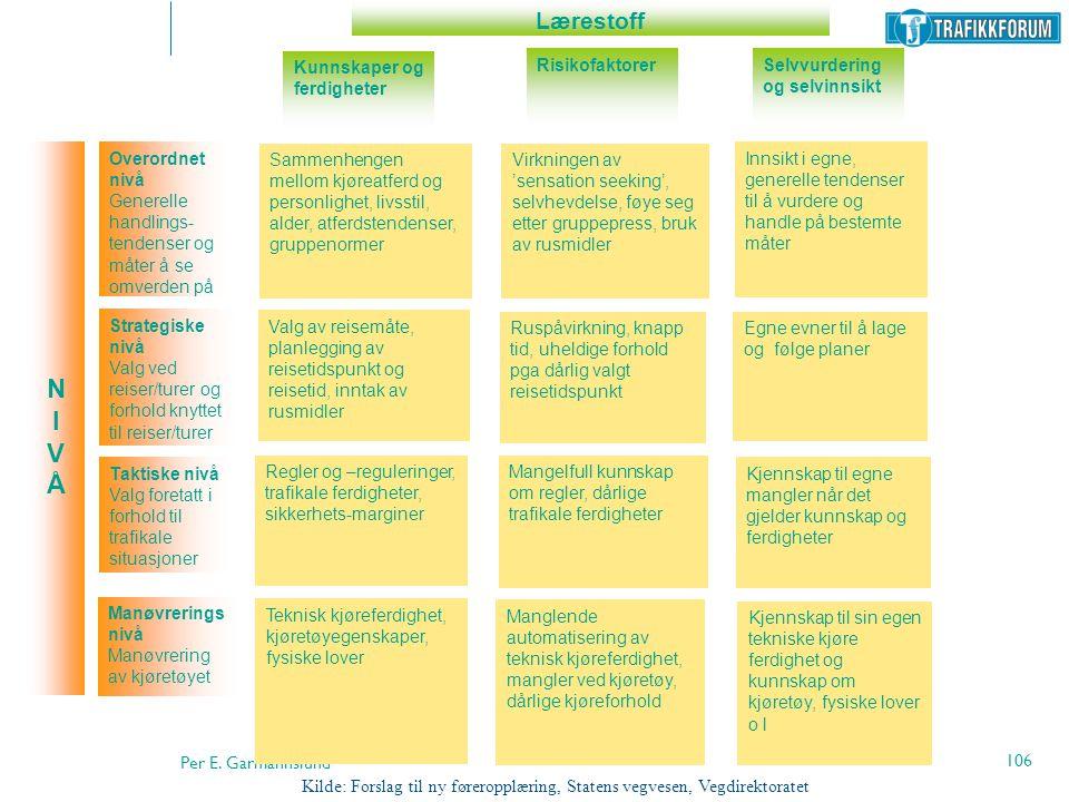 N I V Å Lærestoff Kunnskaper og ferdigheter Risikofaktorer