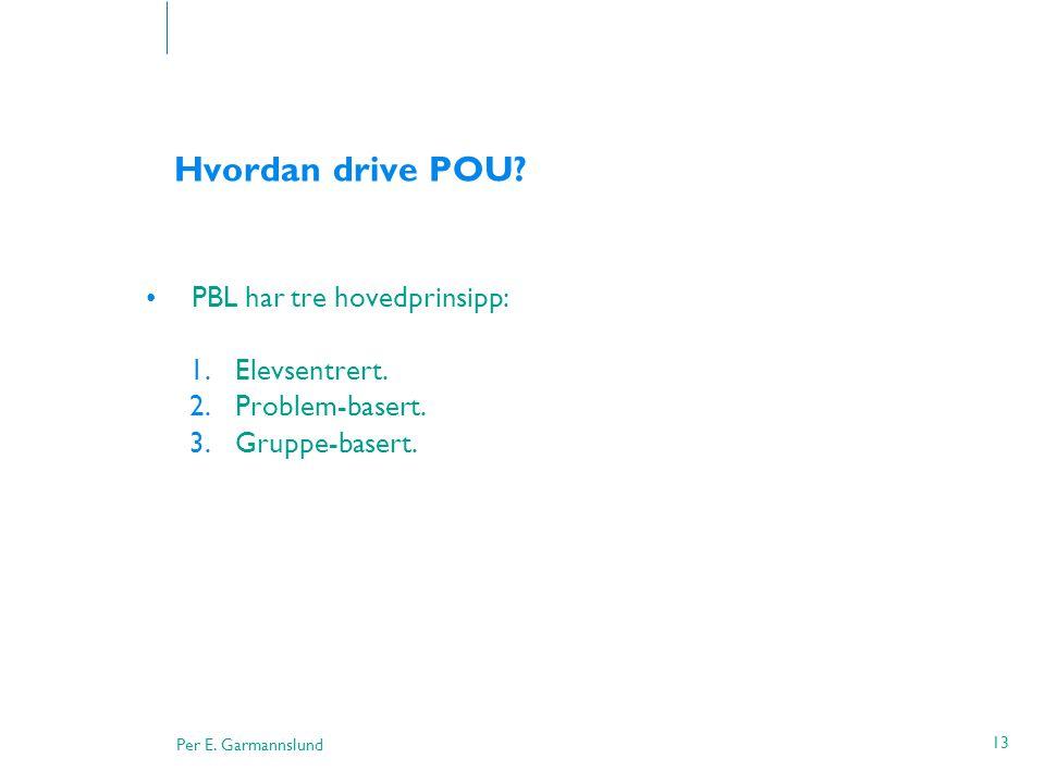 Hvordan drive POU PBL har tre hovedprinsipp: Elevsentrert.