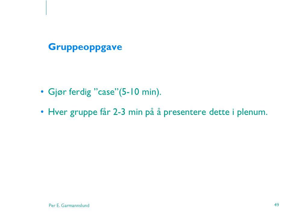 Gruppeoppgave Gjør ferdig case (5-10 min).