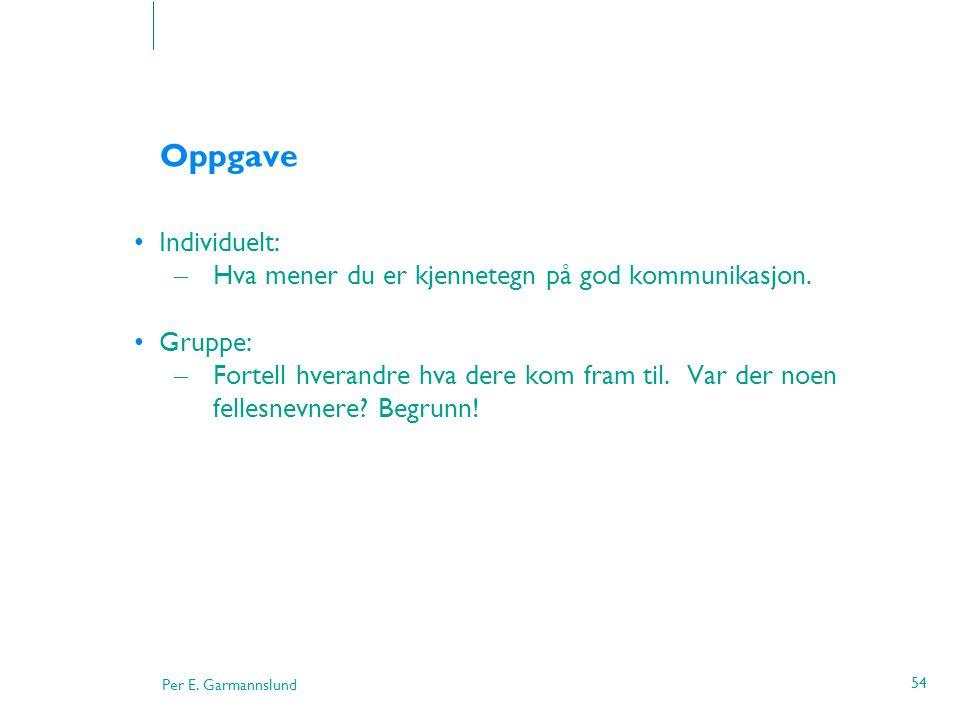 Oppgave Individuelt: Hva mener du er kjennetegn på god kommunikasjon.