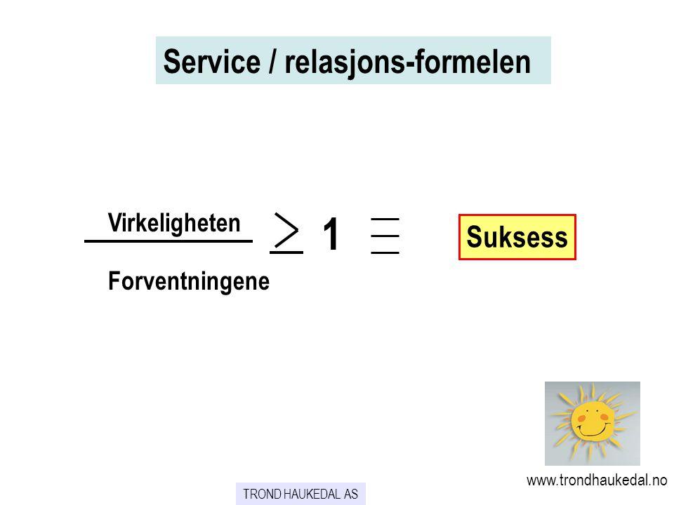 1 Service / relasjons-formelen Suksess Virkeligheten Forventningene