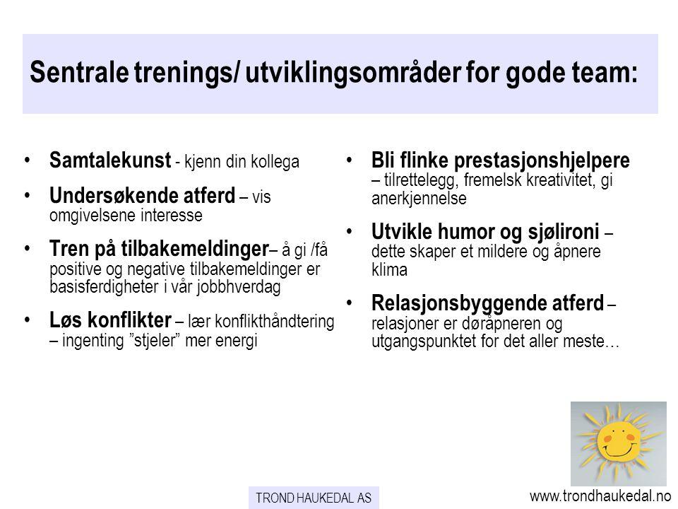 Sentrale trenings/ utviklingsområder for gode team: