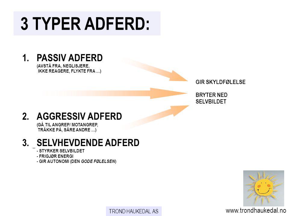 3 TYPER ADFERD: 1. PASSIV ADFERD 2. AGGRESSIV ADFERD