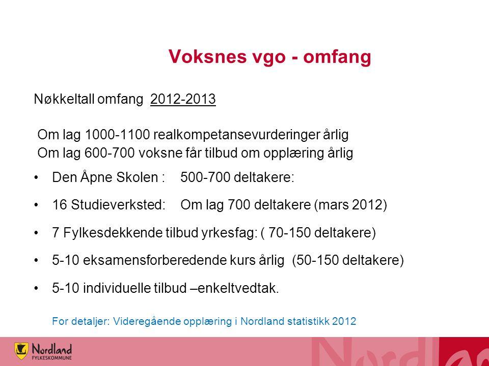 Voksnes vgo - omfang Nøkkeltall omfang 2012-2013