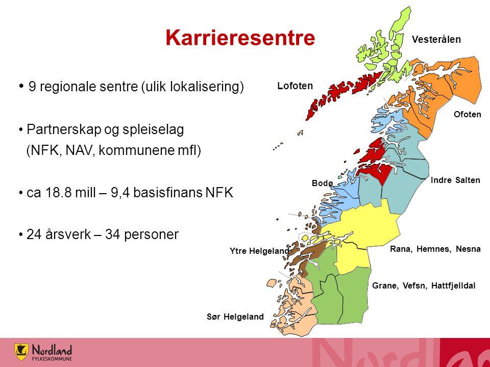 Karrieresentre 9 regionale sentre (ulik lokalisering)
