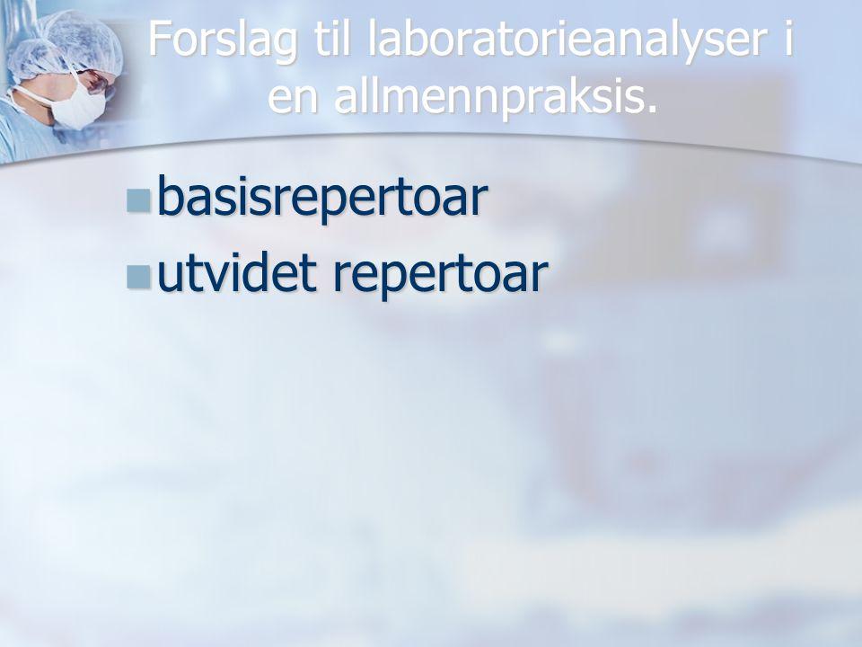 Forslag til laboratorieanalyser i en allmennpraksis.