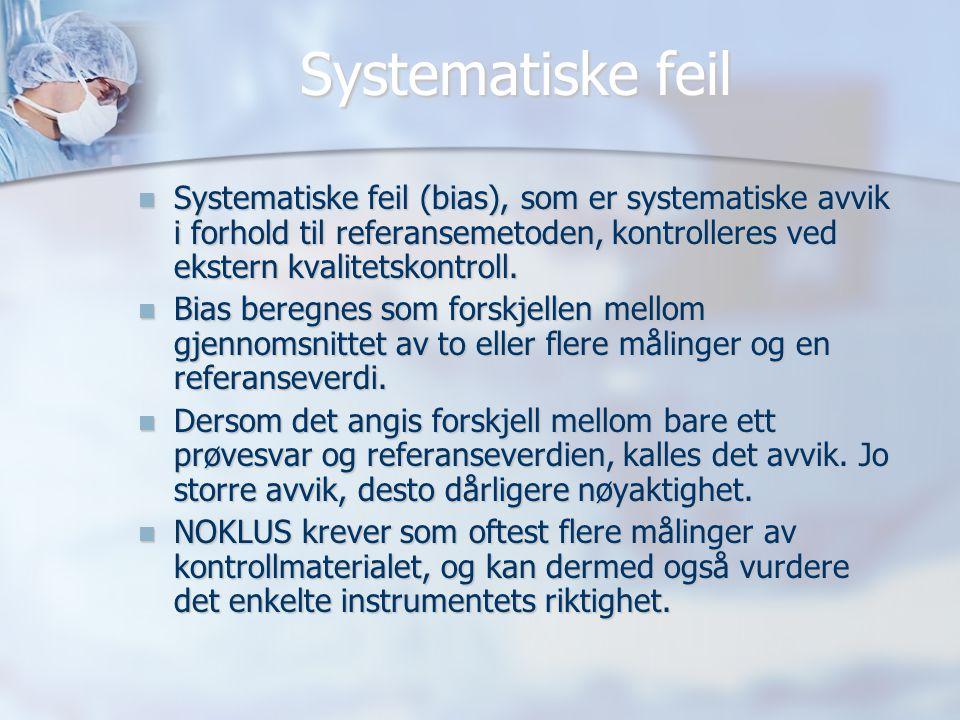 Systematiske feil Systematiske feil (bias), som er systematiske avvik i forhold til referansemetoden, kontrolleres ved ekstern kvalitetskontroll.