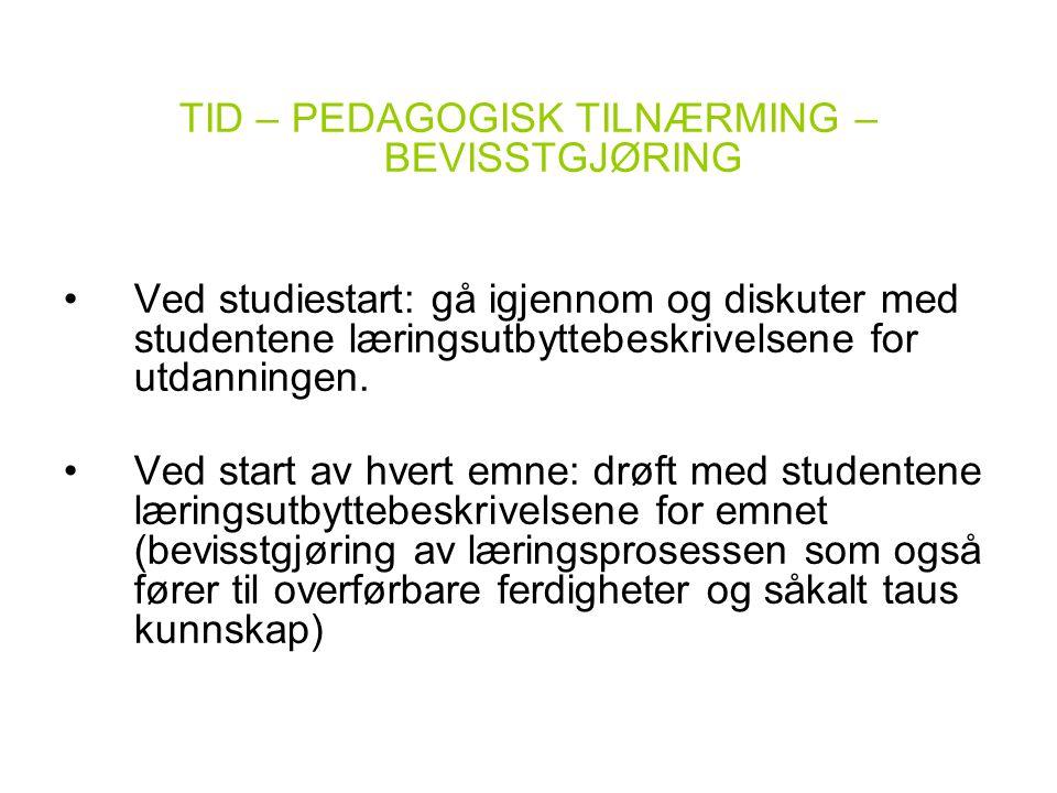 TID – PEDAGOGISK TILNÆRMING – BEVISSTGJØRING