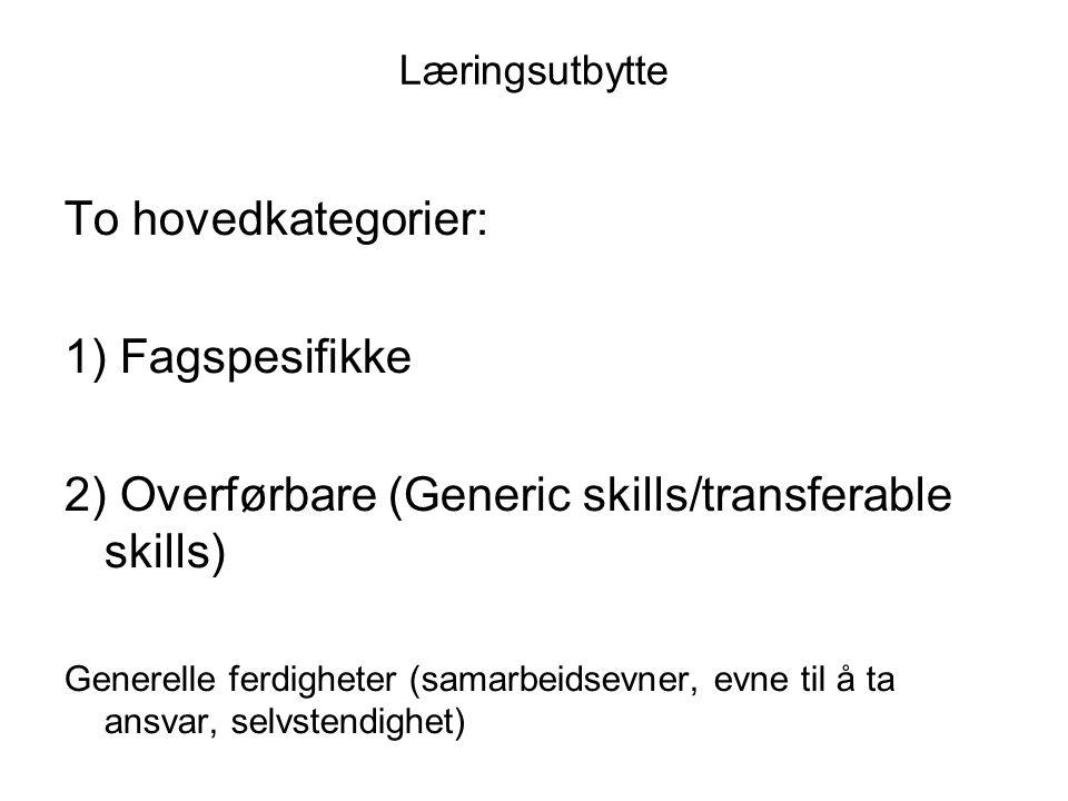 2) Overførbare (Generic skills/transferable skills)