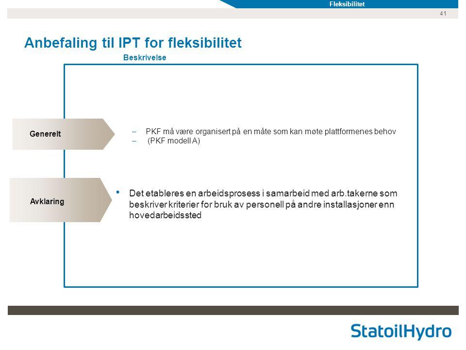 Anbefaling til IPT for fleksibilitet