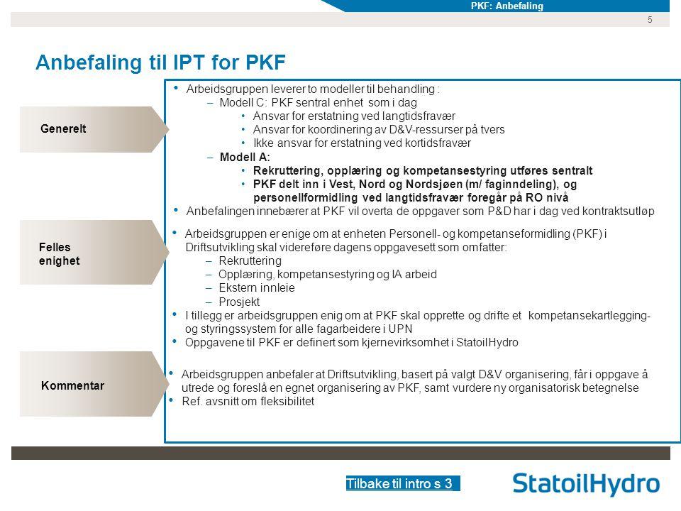 Anbefaling til IPT for PKF