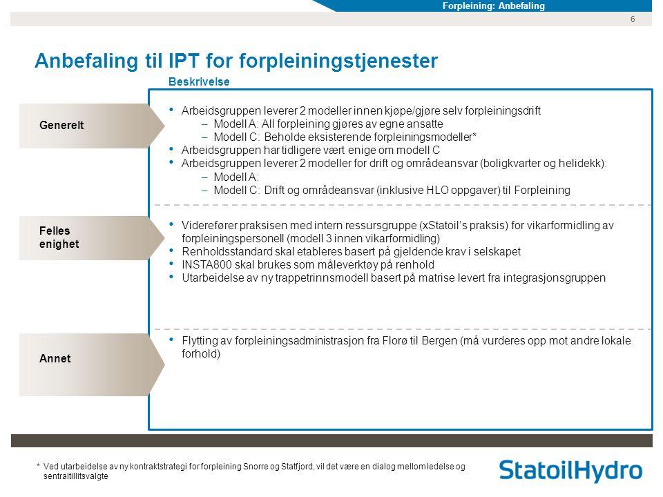 Anbefaling til IPT for forpleiningstjenester